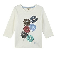 J by Jasper Conran - Designer girl's cream sequin flower t-shirt