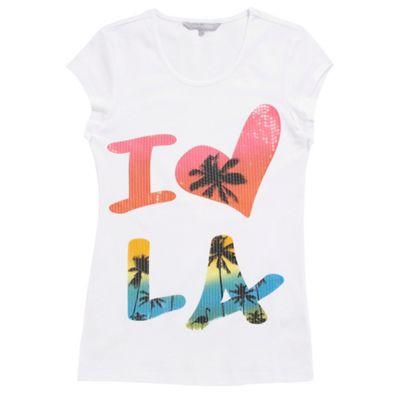 Girls white I Love LA t-shirt