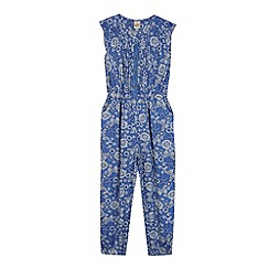 Mantaray - Girl's blue woven floral jumpsuit