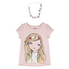 Mantaray - Girl's pink printed jersey top with floral hairband