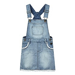 Mantaray - Girl's light blue denim pinafore dress