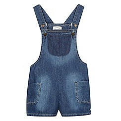 Mantaray - Girl's blue denim dungaree playsuit