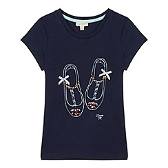 J by Jasper Conran - Designer girl's navy jewel shoe t-shirt