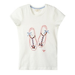 J by Jasper Conran - Designer girl's white jewel shoe t-shirt