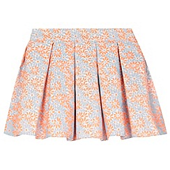 J by Jasper Conran - Designer girl's bright coral textured floral skirt