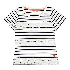 J by Jasper Conran - Designer girl's navy floral striped t-shirt