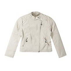 Star by Julien Macdonald - Designer girl's cream faux leather collarless jacket