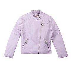Star by Julien Macdonald - Designer girl's lilac faux leather collarless jacket