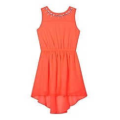 Star by Julien MacDonald - Designer girl's coral neon gem dress
