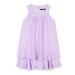 Star by Julien Macdonald - Designer girl's lilac gem neck double layered dress