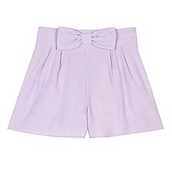 Star by Julien Macdonald - Designer girl's lilac bow detail shorts