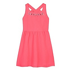 Star by Julien Macdonald - Designer girl's neon pink gem neck dress
