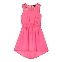 Star by Julien MacDonald - Designer girl's bright pink dipped hem dress