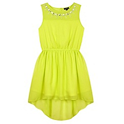 Star by Julien Macdonald - Designer girl's neon green gem neck dress