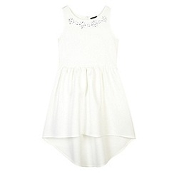 Star by Julien Macdonald - Designer girl's white gem neck scuba dress