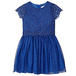 RJR.John Rocha - Designer girl's dark blue lace overlay dress