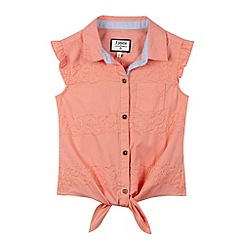 J by Jasper Conran - Designer girl's coral embroidered tie front shirt