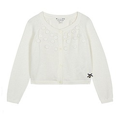 J by Jasper Conran - Designer girl's white applique daisies cardigan