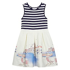 J by Jasper Conran - Designer girl's mock stripe print border dress