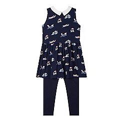 J by Jasper Conran - Designer girl's navy boat print tunic and leggings set