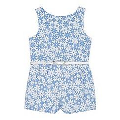 J by Jasper Conran - Designer girl's blue jacquard floral playsuit