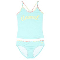 Animal - Girl's turquoise logo detail tankini