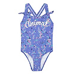 Animal - Girl's purple floral logo swimsuit
