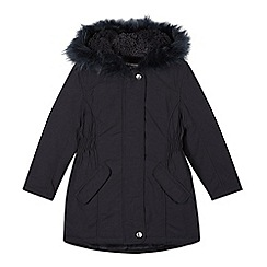 bluezoo - Girl's navy faux fur trimmed hood parka coat
