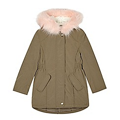 bluezoo - Girl's khaki padded faux fur hood parka