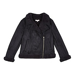 bluezoo - Girl's black soft shearling jacket