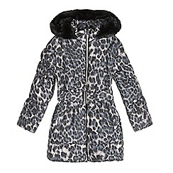 bluezoo - Girl's grey animal print padded coat