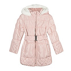 bluezoo - Girl's pink spotty padded coat with belt