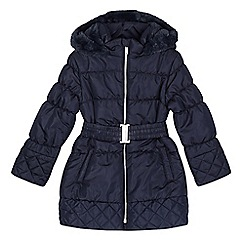 bluezoo - Girl's navy padded faux fur lined hood coat