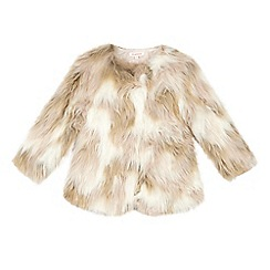 bluezoo - Girls' cream faux fur coat
