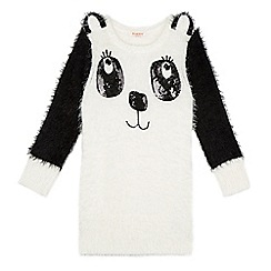 bluezoo - Girl's white fluffy panda tunic