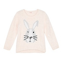 bluezoo - Girl's light pink fluffy bunny jumper