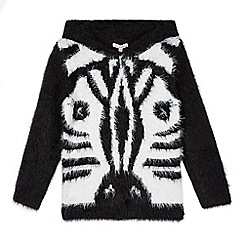 bluezoo - Girl's black fluffy zebra jumper