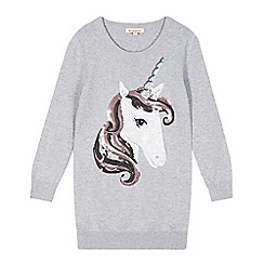bluezoo - Girl's grey sequin unicorn jumper