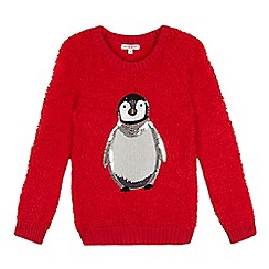 bluezoo - Girls' red fleece penguin jumper