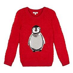 bluezoo - Girls' red fleece penguin jumper