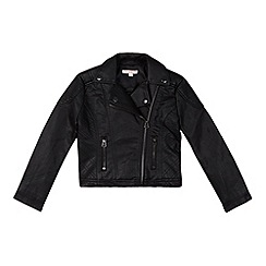 bluezoo - Girl's black leatherette asymmetric biker jacket
