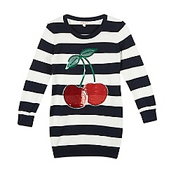bluezoo - Girl's navy striped sequin cherries jumper
