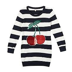 bluezoo - Girl's navy striped sequin cherries jumper