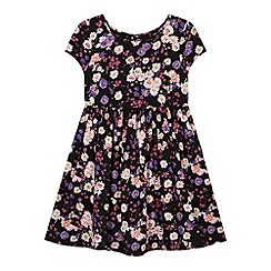 bluezoo - Girl's black woven floral dress