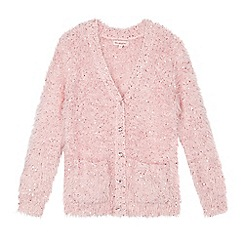 bluezoo - Girl's pink fluffy sequin cardigan