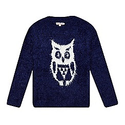 bluezoo - Girls' navy eyelash owl jumper