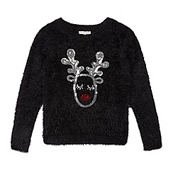bluezoo - Girls' black sequinned Christmas reindeer jumper