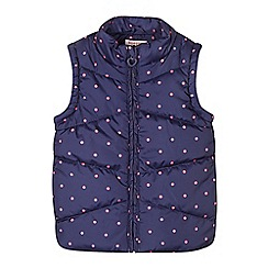 bluezoo - Girl's navy polka dot padded gilet