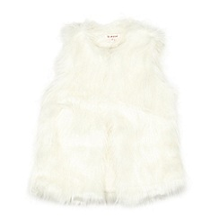bluezoo - Girl's cream faux fur gilet