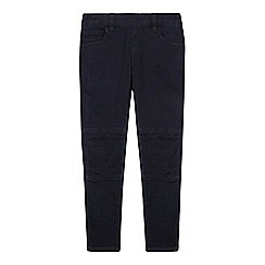 bluezoo - Girl's dark blue quilted knee jeggings